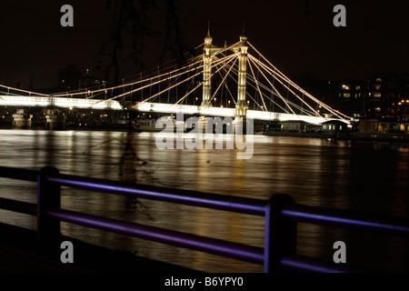 Albert Bridge at night London UK - Stock Photo
