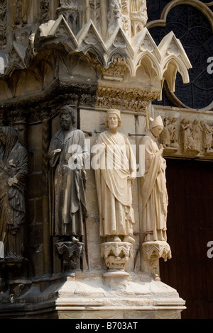 Reims cathedral Champagne France august 2006 - Stock Photo