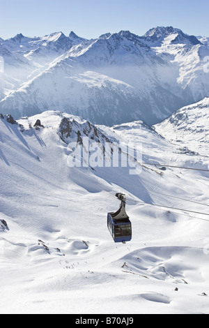 View of the Valugabahn tram at St. Anton am Arlberg, Austria. - Stock Photo