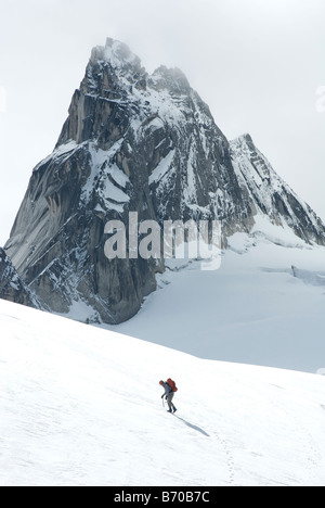 Man mountaineering in the Bugaboo Provincial Park, British Columbia, Canada. - Stock Photo