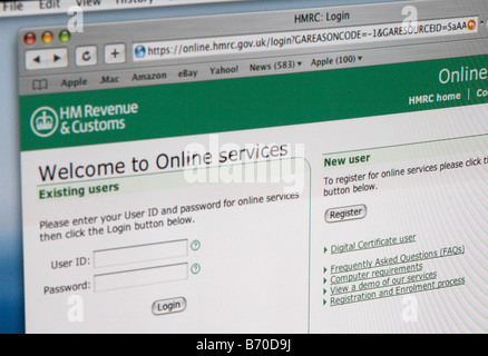 HM Revenue Customs website, log in page, tax payment, online - Stock Photo