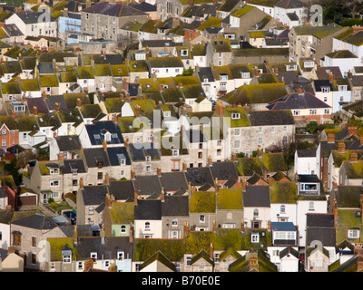 Panoramic view of Terraced Houses in Fortuneswell, Isle of Portland, Dorset, UK - Stock Photo