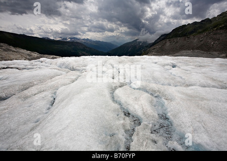 Looking down the Rhone valley from the Rhnegletscher, Switzerland - Stock Photo
