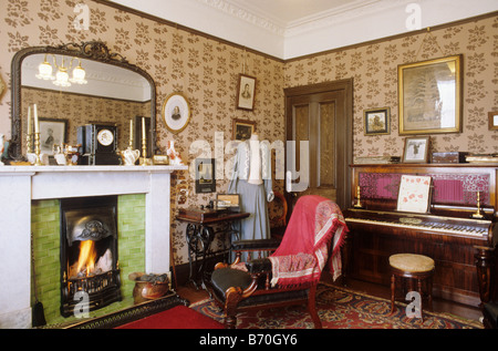 Living Room Tenement House Glasgow · Glasgow The Tenement House Period  Sitting Room Scotland UK Interior View Museum Furnished Fire Furniture  Domestic Part 79