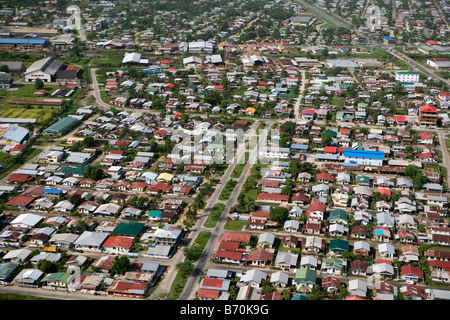 Suriname, Paramaribo, Aerial of residential areas. - Stock Photo