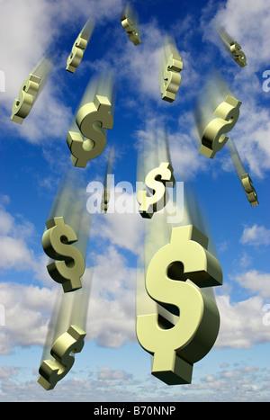 Falling US Dollar symbols against a blue sky - digital composite