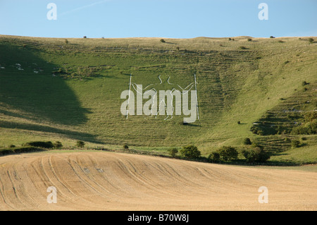 the Long Man of Wilmington, Windover Hill, Wilmington, East Sussex, England, UK - Stock Photo