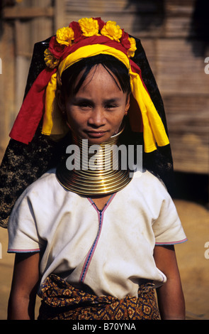 Longneck, Long Neck or Giraffe Neck Burmese Padaung or Karen Woman, living in refugee camp, Mae Hong Son, Thailand - Stock Photo