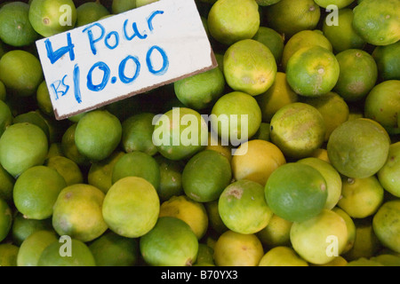 Limes for sale at the Central Market in the city of Port Louis, the capital of Mauritius, an island in the Indian - Stock Photo