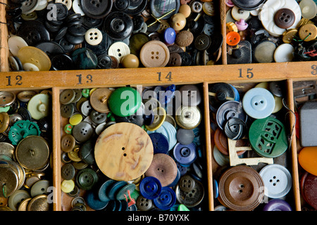 A Collection of Multi Colored Buttons - Stock Photo