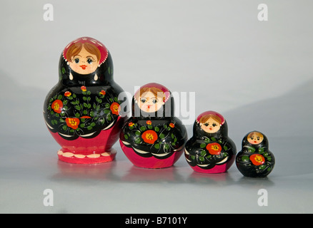 Detail of Russian nesting dolls also known as matryoshka dolls Babushka dolls or Russian nested dolls also called - Stock Photo