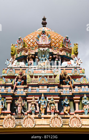 Roof detail on the Hindu temple called Socaligum Minathi Amen in Port Louis Mauritius - Stock Photo