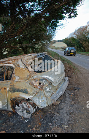 a car crashed and burnt out in a rural lane in cornwall,uk - Stock Photo
