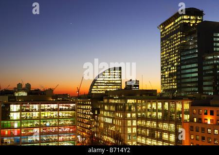 Night shot of city skyline London England - Stock Photo