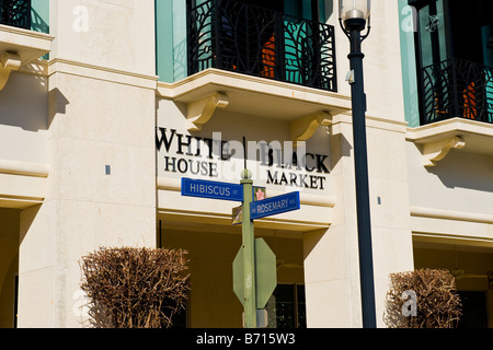 Palm Beach , quirky interesting road signs , White House , Black Market at corner Hibiscus Street & Rosemary Avenue