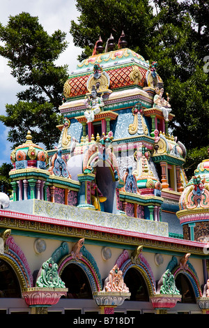detail from roof of Hindu Temple in Mauritius showing depictions of the gods and intricate carvings - Stock Photo