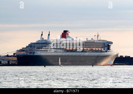 Queen Mary 2 ocean liner in New York Harbor New York USA - Stock Photo