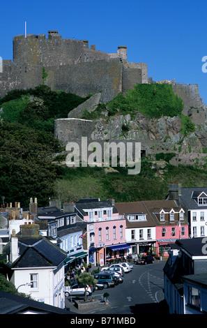 Mount Orgueil Castle, overlooking Grouville Bay in Gorey, Jersey, Channel Islands.