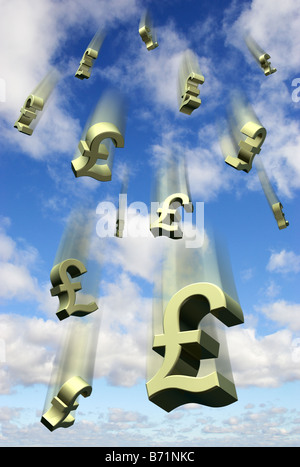 Falling money GBP currency pound sterling symbols against a blue sky - digital composite - Stock Photo