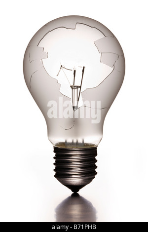 Broken incandescent lightbulb - Stock Photo
