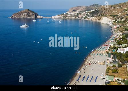Maronti beach and Sant Angelo on Ischia island Bay of Naples - Stock Photo