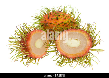 fresh rambutan isolated on a white background Nephelium lappaceum - Stock Photo