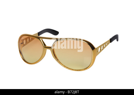 Retro sun glasses cut out on white background - Stock Photo