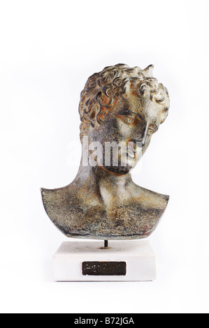 Classical sculpture Greek Roman bust of young man - Stock Photo