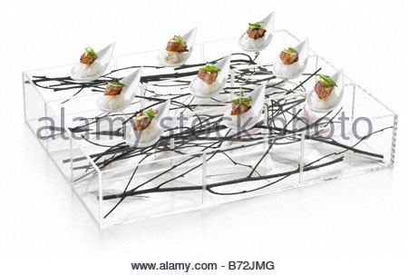 Canapes party savoury food finger buffet a selection of for Perspex canape trays