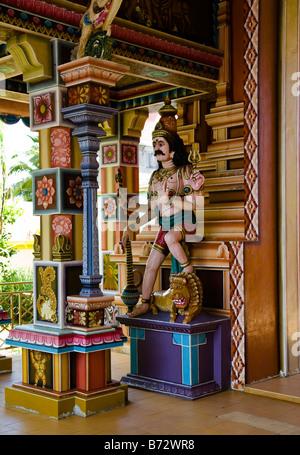 entrance to Hindu temple called Socaligum Minathi Amen in Port Louis Mauritius - Stock Photo