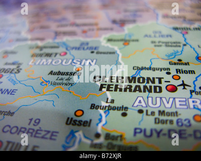 MAP OF CLERMONTFERRAND FRANCE Stock Photo Royalty Free Image