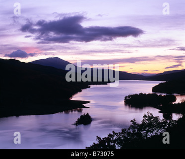 Loch Tummel and Schiehallion seen from the Queen's View near Pitlochry, Perth and Kinross, Scotland, UK. - Stock Photo