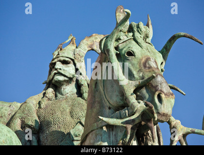 One of the statues in Budapest's Heroes' Square - Stock Photo