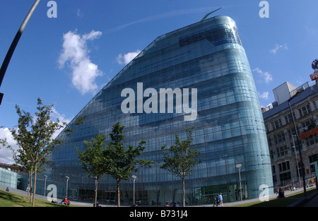 Wide Angle shot Urbis City Centre Manchester Bight Sunny day with reflection in glass of building Taken with Fish - Stock Photo