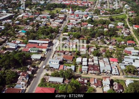 Suriname, Paramaribo, Aerial of residential areas. - Stock Photo