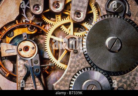 Clock Interior Watch Gears Close up Sandra Baker - Stock Photo
