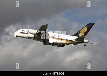 An Airbus A380 of Singapore International Airlines - Stock Photo