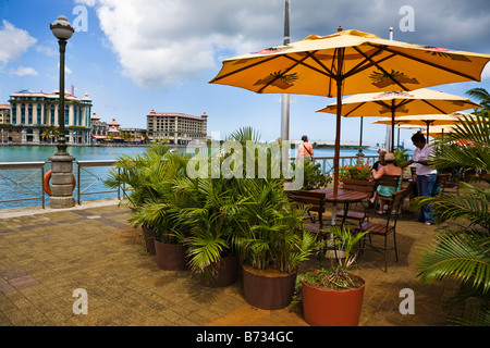 Caudon Waterfront at the harbour in Port Louis Mauritius - Stock Photo