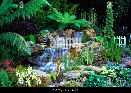 Attractive water garden with waterfalls and tree ferns - Stock Photo