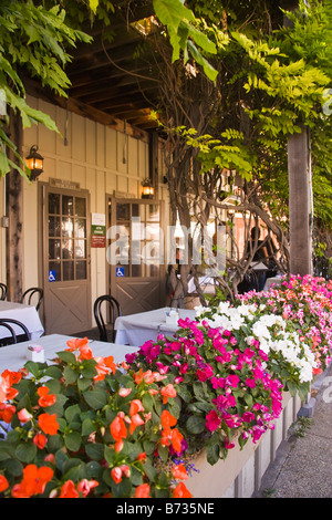 outdoor patio at the Los Olivos Cafe and Wine Merchant Los Olivos Santa Ynez Valley California United States of - Stock Photo