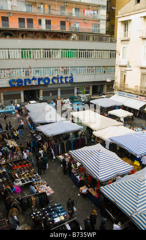 Stalls at the market in Via Mancini street in central Naples Italy Europe - Stock Photo