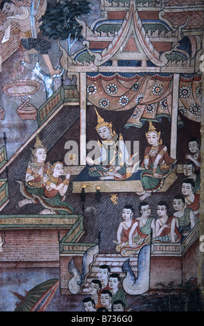 Thai royal court scene with attendants in a thai mural or for Audience wall mural