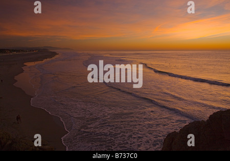 Ocean Beach at sunset well-known surfers beach on the Pacific Ocean coast of San Francisco central north California - Stock Photo