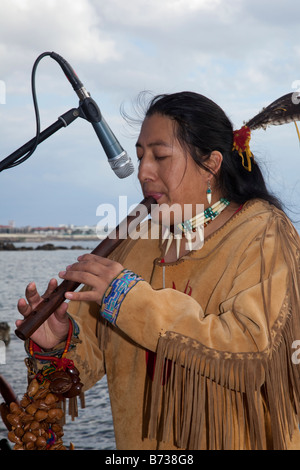 Aztec, or Peruvian Street Musicians in National Costume Playing South American flute musical  instruments  Soul - Stock Photo