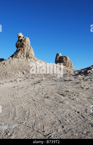 The Trona Pinnacles are a Tufa rock formation on the Mojave desert - Stock Photo