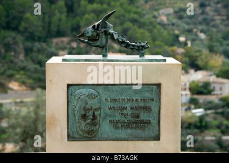 Mallorca Deia or Deja memorial to Dr William Waldren archaeologist and prehistorian - Stock Photo