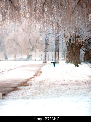 A uk park photographed on a cold frosty morning  in January. - Stock Photo