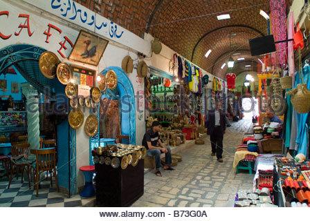 Souk in the Medina, Sousse, Tunisia - Stock Photo