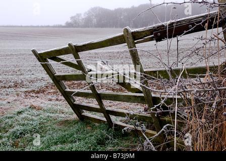 Farm Gate Winter. - Stock Photo