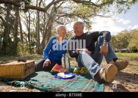 Senior couple having picnic in park - Stock Photo